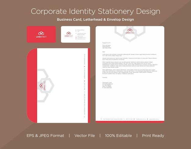 Professioneel visitekaartje, briefhoofd en envelop ontwerpsjabloon