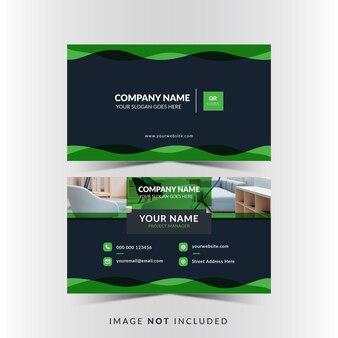 Professioneel visitekaartjeontwerp met groene kleur en foto