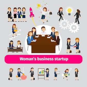 Professioneel vrouwen bedrijfsvoorzien van een netwerk