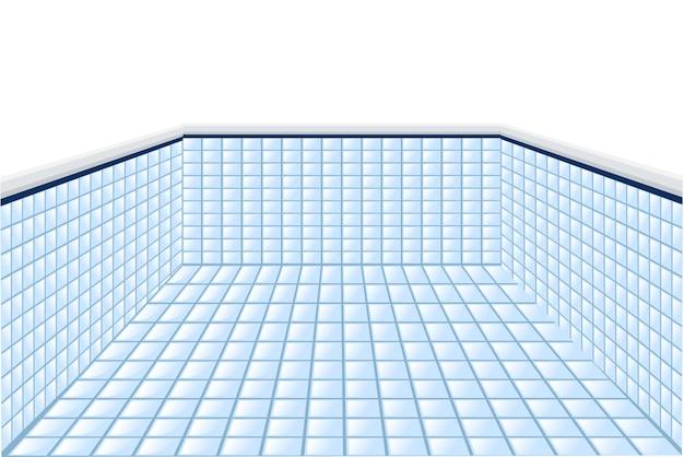 Professioneel zwembad zonder water platte vectorillustratie op witte achtergrond