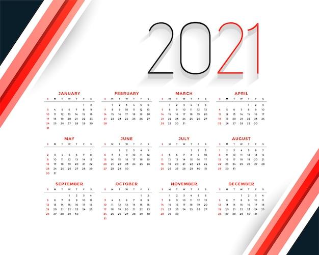 Professionele 2021 moderne rode kalendersjabloon