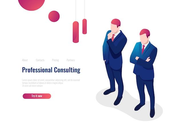 Professionele adviserende serviceadviespartner voor het bedrijf, brainstorming, teamwork, advocaat