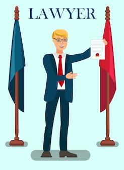 Professionele advocaat diensten platte poster sjabloon