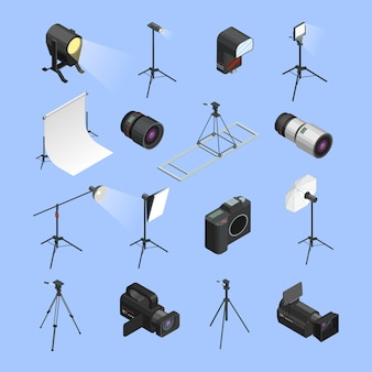 Professionele apparatuur van het fotostudio isometrische pictogrammen geplaatst