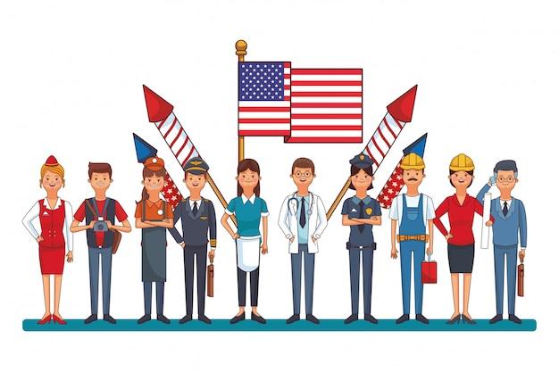 Professionele arbeider met vlag