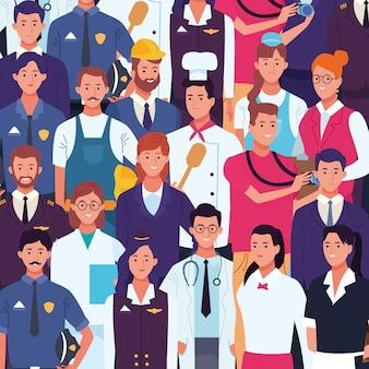Professionele arbeiders arbeidsdag tekenfilms