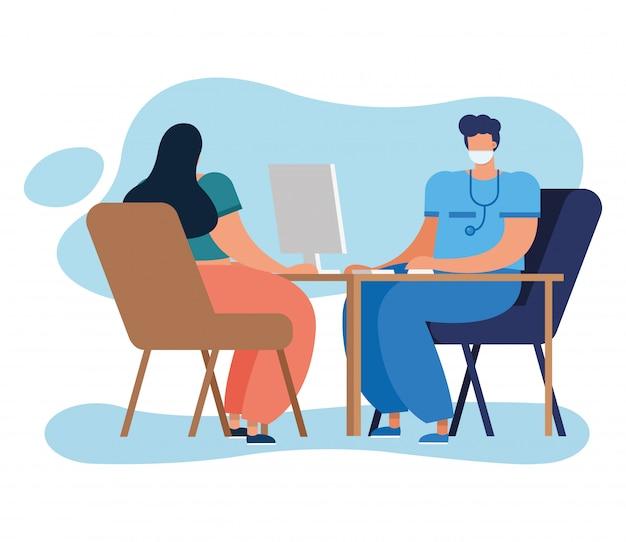 Professionele arts die computer met patiënt met behulp van
