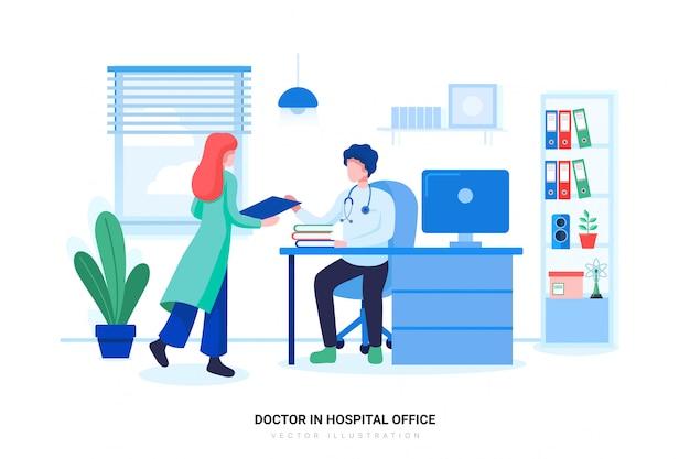Professionele arts die in het ziekenhuiskantoor of kliniek werkt