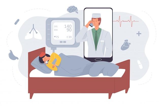 Professionele arts die zieke patiënt online raadpleegt