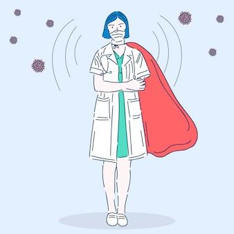 Professionele arts in een medisch masker. superheld. medisch werker. vectorillustratie in moderne lineaire stijl.