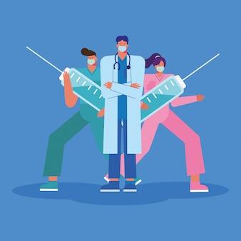 Professionele artsen die medische maskers dragen met injecties