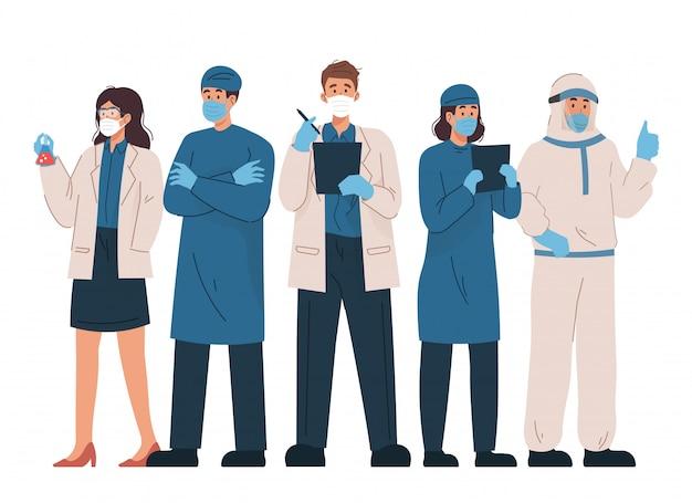 Professionele artsen en verpleegsters die samen staan om het coronavirus te bestrijden