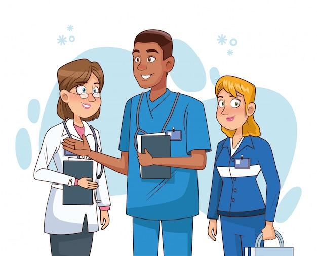 Professionele artsenpersoneel avatars karakters