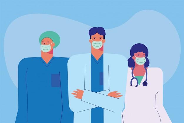 Professionele artsenpersoneel dat medische maskers draagt