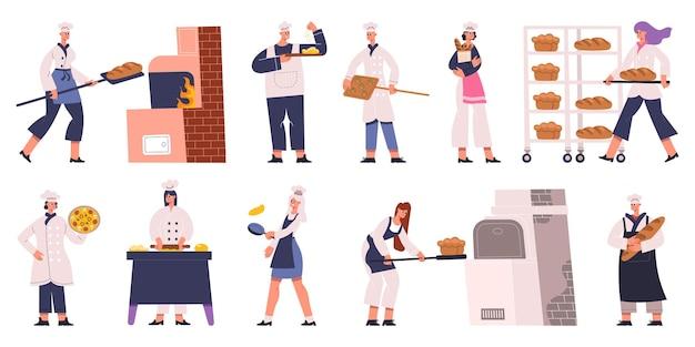 Professionele bakkerskarakters koken, bakken van brood en gebak. bakkers tekens maken van gebak en lekker brood vector illustratie set. bakers mannelijke en vrouwelijke personages