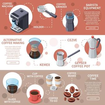 Professionele barista-koffieapparatuur isometrische banners met bewerkbare tekstbijschriften en geïsoleerde koffiepotafbeeldingen