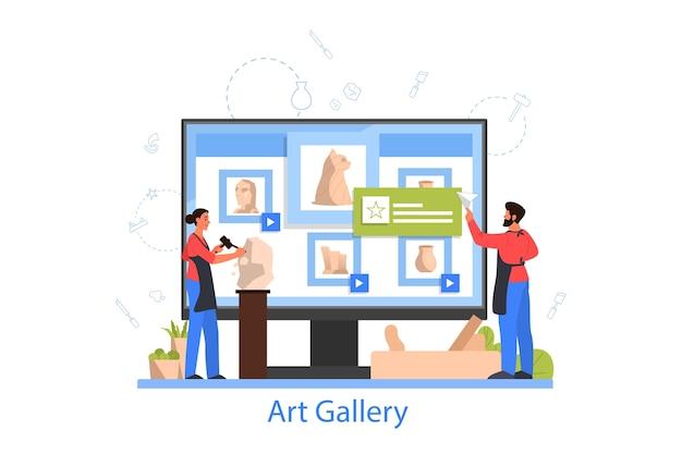 Professionele beeldhouwer online galerij. een sculptuur maken van het marmer,