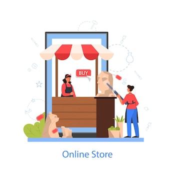 Professionele beeldhouwer online winkel. een sculptuur maken van marmer, hout en klei. creatieve kunstenaar. kunst en hobby. geïsoleerde vectorillustratie