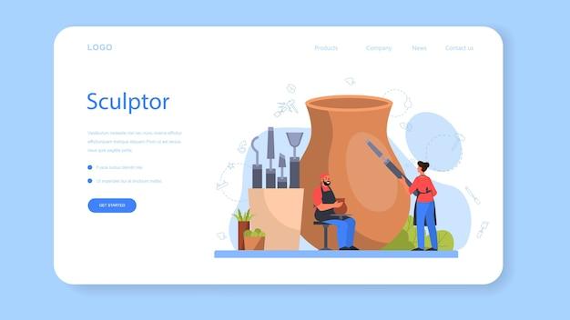 Professionele beeldhouwer webbanner of bestemmingspagina