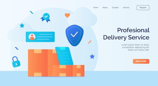 Professionele bezorgservice pakket box pictogram campagne voor web website homepage landing sjabloon banner met cartoon vlakke stijl vector design.