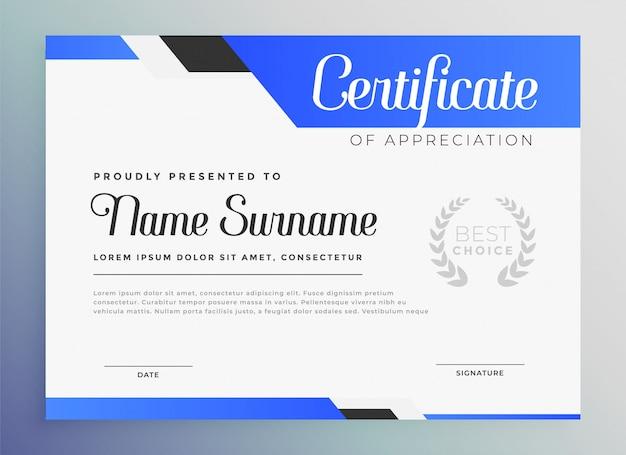 Professionele blauwe certificaat van waardering sjabloon