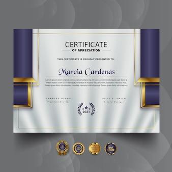 Professionele blauwe zakelijke certificaatsjabloon premium