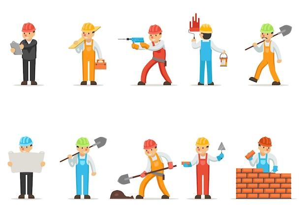 Professionele bouwvakkers of bouwvakkers. gespecialiseerde bouw en constructie, werknemer graven of boren, job werknemer metselaar illustratie