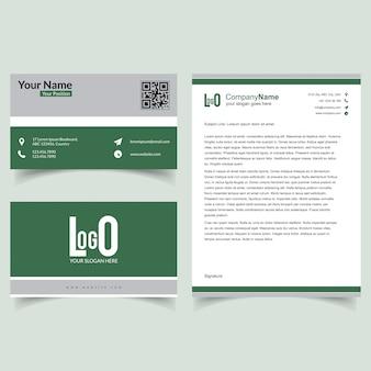 Professionele brochure en visitekaartje instellen met groene thema-vector