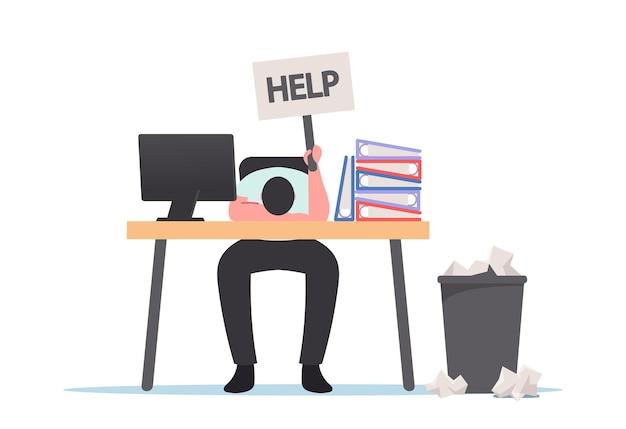 Professionele burn-out, vermoeide overbelasting zakenman liggend op bureau met hulpvlag in de hand en stapels documenten. overwerk, vermoeidheid, vermoeidheid en depressie concept. cartoon vectorillustratie