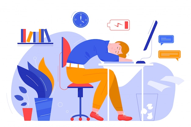 Professionele burnout karakter platte vector illustratie bedrijfsconcept