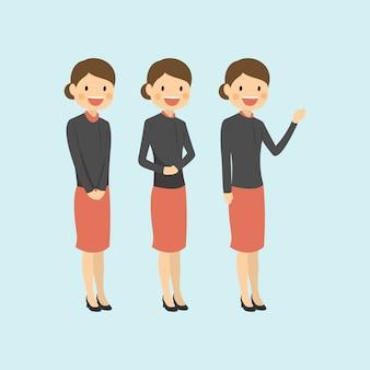 Professionele carrière vrouw die bescheiden verwelkomt en verklaart