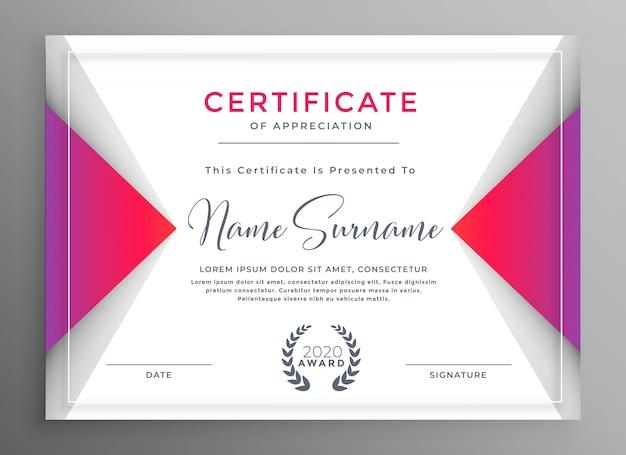 Professionele certificaat van prestatie sjabloon