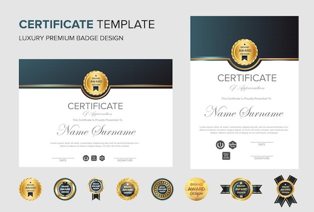 Professionele certificaatachtergrond met badge