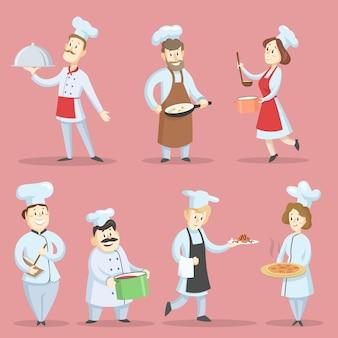 Professionele chef-koks koken voedsel illustraties set