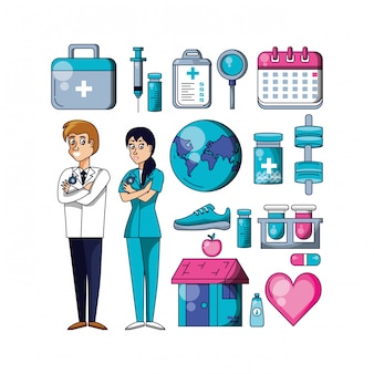 Professionele chirurgen met vastgestelde pictogrammen