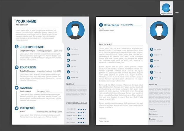 Professionele cv, cv-sjabloon van twee pagina's. a4-formaat