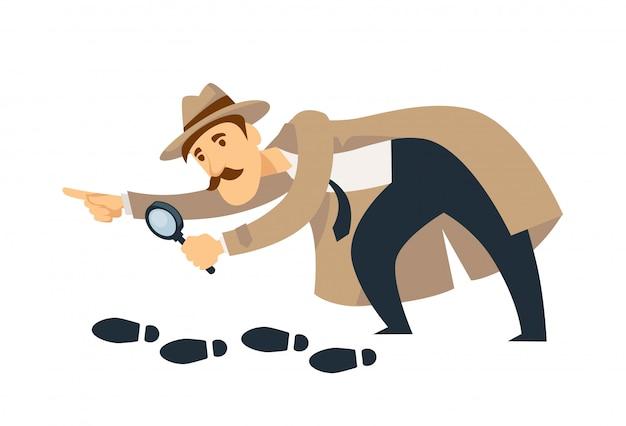Professionele detective met snorren en vergrootglas volgt voetafdrukken