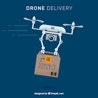 Professionele drone met kartonnen doos