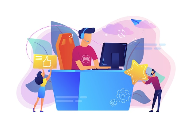Professionele e-sportspeler aan het bureau die videogames speelt en likes krijgt. e-sport, cybersportmarkt, competitief computergamenconcept.