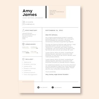 Professionele, eenvoudige sollicitatiebrief van amy high school