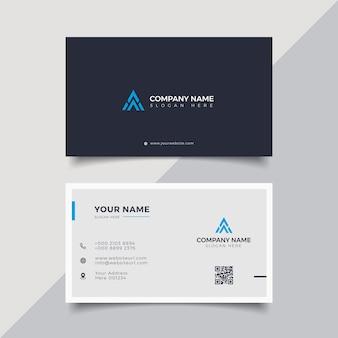 Professionele elegante blauwe en witte moderne ontwerpsjabloon voor visitekaartjes