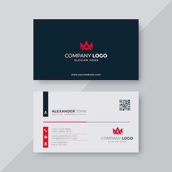 Professionele elegante rode en witte moderne ontwerpsjabloon voor visitekaartjes