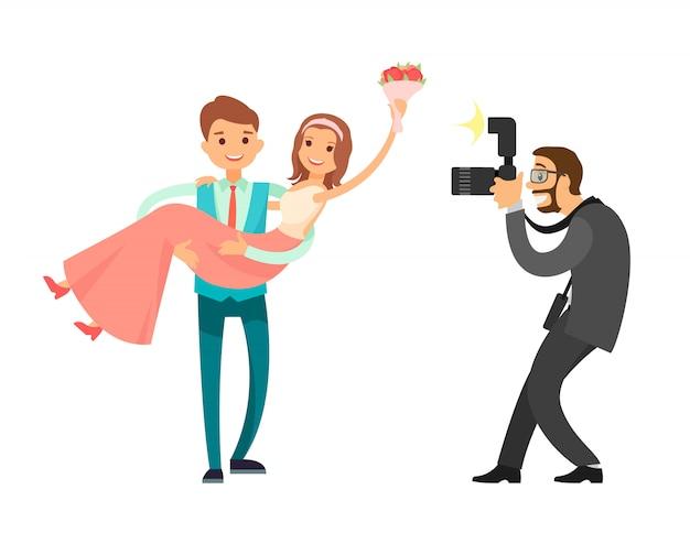 Professionele fotosessie van pasgetrouwde bruid