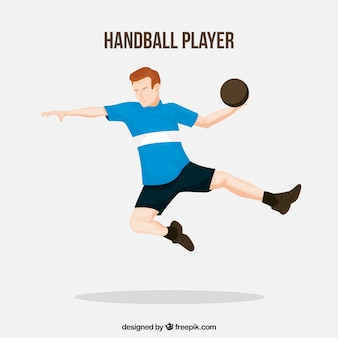 Professionele handbalspeler met plat ontwerp