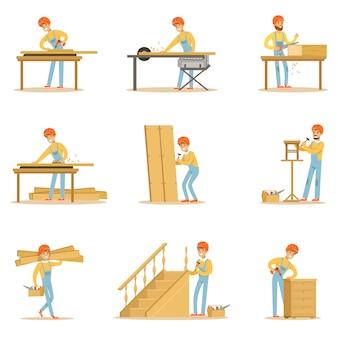 Professionele houten jointer op het werk crafting houten meubels en andere bouwelementen illustraties