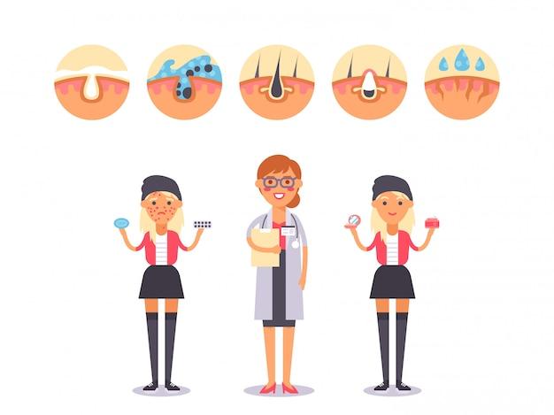 Professionele huidverzorging voor tieners, illustratie. dermatologische oplossing voor tienermeisjes met huidproblemen. glimlachend huidverzorging arts stripfiguur