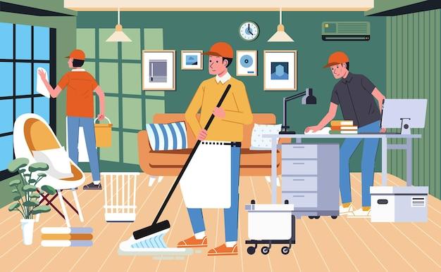 Professionele huisreinigingsdiensten, elk deel van het huis schoonmaken, de vloer dweilen en de raamillustratie schoonmaken.