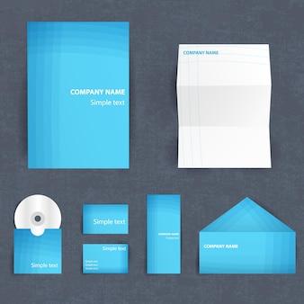 Professionele huisstijl set met blauw gekleurde sjablonen voor briefpapier