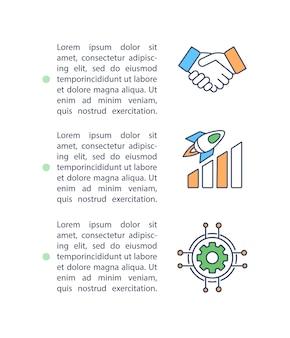 Professionele hulp aan managers en investeerders concept pictogram met tekst.