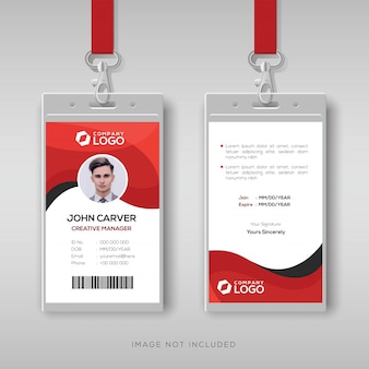 Professionele identiteitskaart sjabloon met rode details